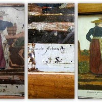chaises motif régional cuir et bois
