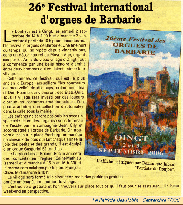 2006 Patriote Orgues de Barbarie