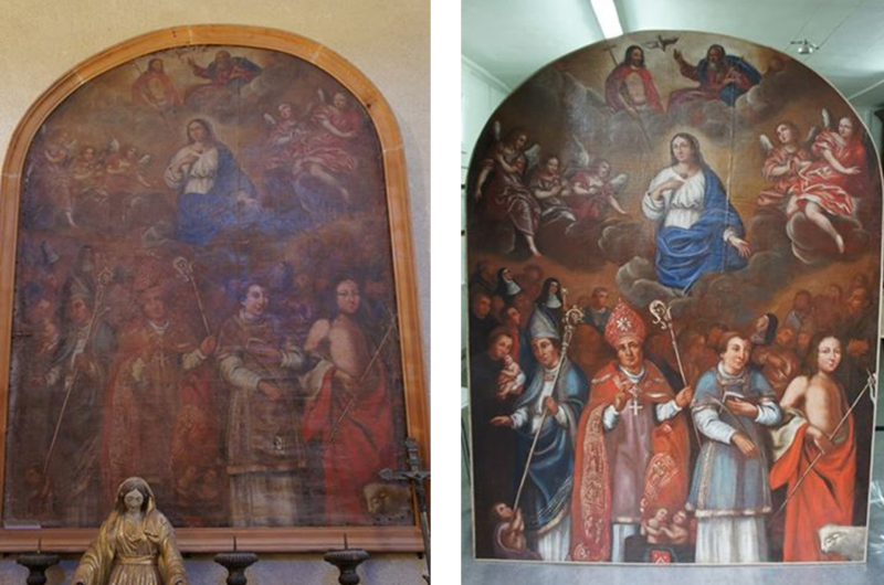 Tableau religieux avant et apr s restauration